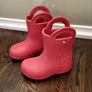 Crocs Red Rain Boots Size C11
